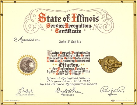 CAHILL, John Francis CAHILL State of Illinois Service Recognition Certificate