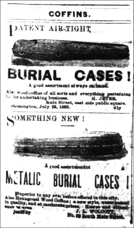 Coffin Ad Pantagraph 09-02-1865
