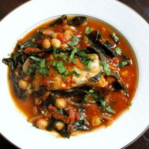 Tomato-Poached Fish with Kale and Chickpeas