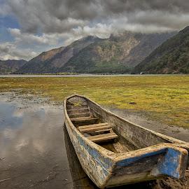 Wooden Boat at Lake Batur by Kristianus Setyawan - Transportation Boats ( bali, kintamani, indonesia, lake batur, low tide, lake, lakeside, landscape, boat, wooden boat )