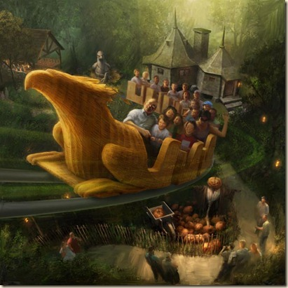 FLIGHT OF THE HIPPOGRIFF – Flight of the Hippogriff is a family coaster simulating a Hippogriff training flight over the grounds of Hogwarts castle.Early conceptual rendering of Flight of the Hippogriff.