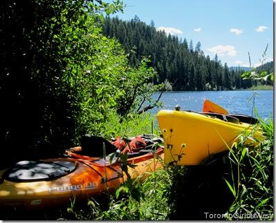 kayaks on the shore