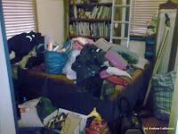 Our spare bedroom after much inattention.  It\'s amazing how you can ignore a mess by closing the door.