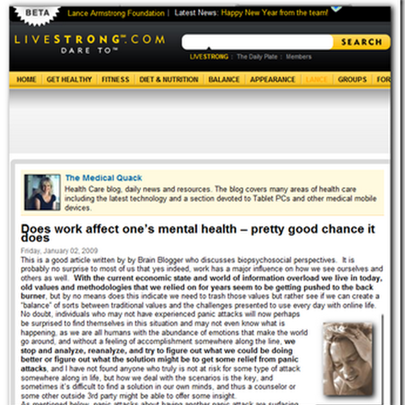 The Medical Quack featured on the Lance Armstrong Cancer Awareness Website