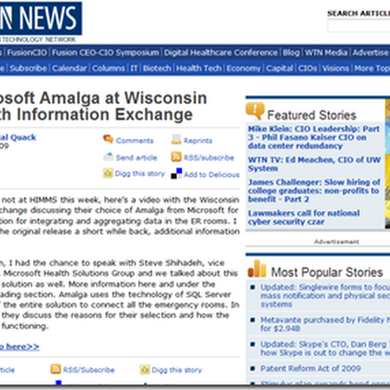 Wisconsin Health Information Exchange (WTN News) – Medical Quack