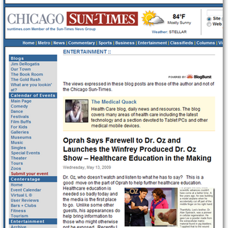 Medical Quack on the Chicago Sun Times -  Oprah Says Goodbye to Dr.Oz