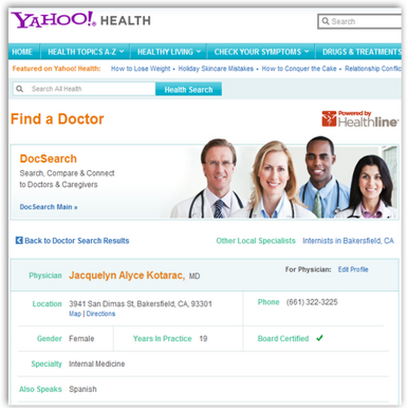 Yahoo Search-Dead Doctor Listings and Flaws Alive and Well There too!  Is Everybody on the Web Drinking the Flawed Data?