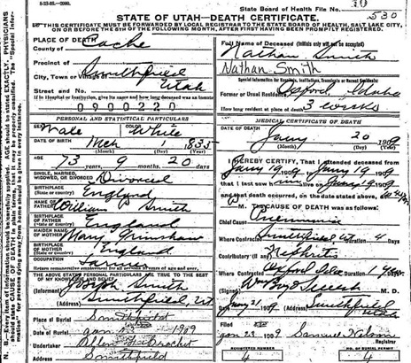 Death Certificate of Nathan Smith Sr