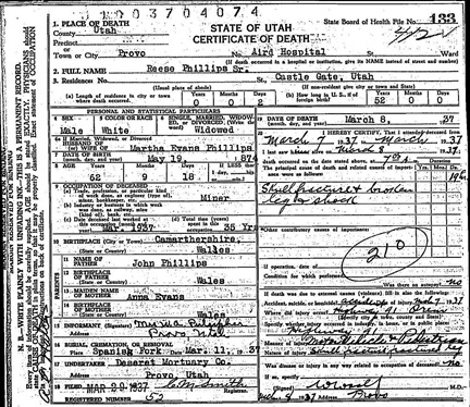 Death Certificate of Rees Phillips