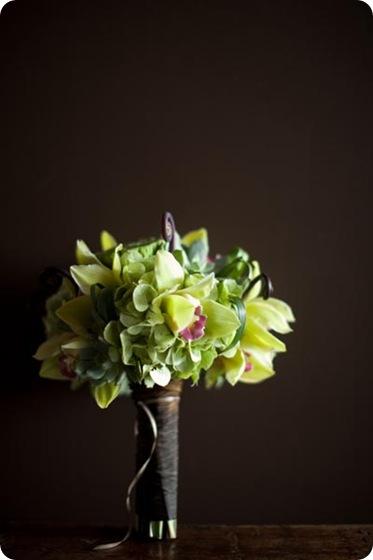green cymbidium hydrangea succulent bouquet