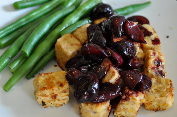 cherry glazed tempeh