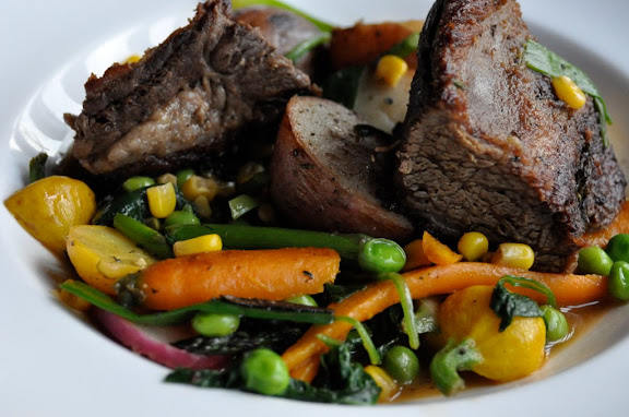 beer braised short ribs with beautiful fresh local veg.