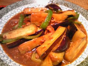 茶番の茄子とピーマンの肉みそ炒め定食