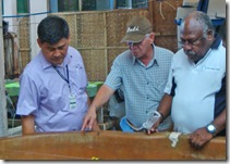 Dr. Toledo, Atty. Sarmiento and Mr. Pokajam explore the sea cucumber setup