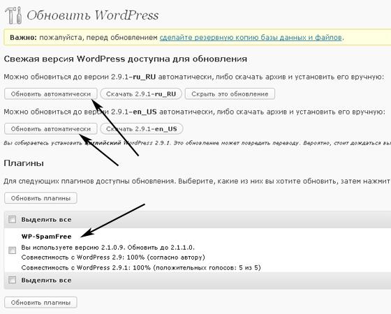 обновление wordpress 2.9.1