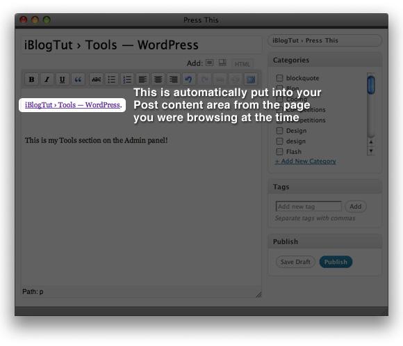 опубликовать ссылку на сайт wordpress 2.7