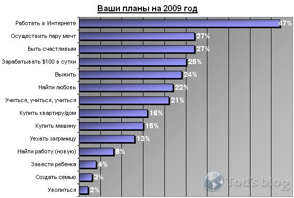 опрос - планы на 2009 год