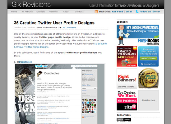 Веб дизайн блог Six Revisions
