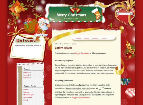 рождественский шаблон Blogspot