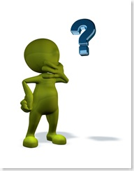 Royalty-Free (RF) Clipart Illustration of a 3d Green Man Pondering And Looking At A Question Mark