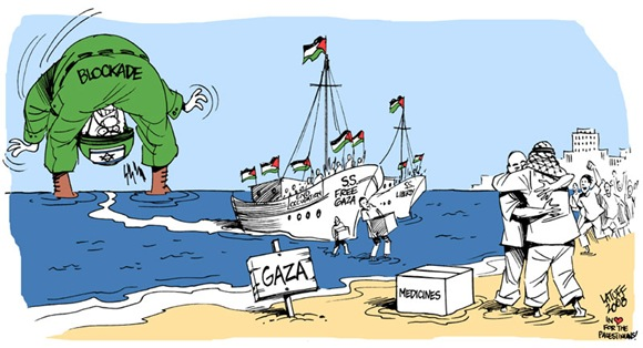 Boats break Israeli blockade by Latuff