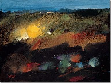 Campo di stoppie, olio su masonite, cm 50x40, 1980