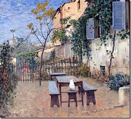 Telemaco Signorini - Mattino di settembre a Settignano (L'osteria dello Scheggi a Settignano), 1892 Olio su tela, cm. 58x64. Galleria d'Arte Moderna Firenze