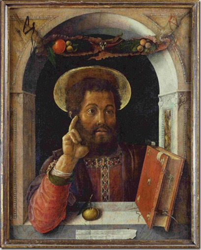 Andrea Mantegna -Isola di Carturo, Padova 1431-Mantova 1506- San Marco Evangelista 1447-1448 circa Dipinto su tela, cm 81,1 x 63,6  U. Edelmann - Stadel Museum