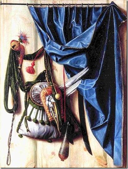 Cornelius Norbertus Gijsbrechts -Anversa 1610-1620 ca.-post 1675- Oggetti da caccia al falcone con frustino e coltello 1672 Dipinto su tela Copenaghen, Castello di Rosenborg