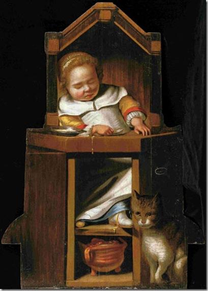 Johannes Cornelisz Verspronck -Haarlem 16003-1662- Bambino addormentato nel seggiolone 1654- dipinto su tavola sagomata Collezione privata