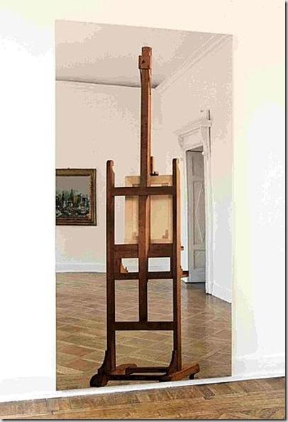 Michelangelo Pistoletto (Biella 1933) Tela con cavalletto 1962 Serigrafia su acciaio inox lucidato a specchio, cm 250 x 12,5 circa Biella, Cittadellarte-Fondazione Pistoletto