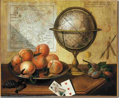 Sebastiano Lazzari -Verona, 1730 ca.. attivo a Vicenza fino al 1791- Finto asse e natura morta con pesche e globo terrestre 1785 Dipinto su tela, cm 54 x 66. Milano, Galleria d'Arte Studiolo