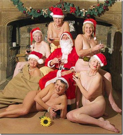 December shows a traditional Christmas scene, with all the women posing in Santa hats surrounding