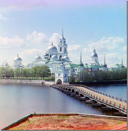 View of the monastery from Svetlitsa Island, Saint Nil Stolbenskii Monastery, Lake Seliger; 1910 Sergei Mikhailovich Prokudin-Gorskii Collection (Library of Congress).
