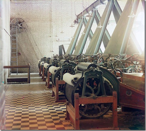 Cotton textile mill interior with machines producing cotton thread, probably in Tashkent; between 1905 and 1915 Sergei Mikhailovich Prokudin-Gorskii Collection (Library of Congress).
