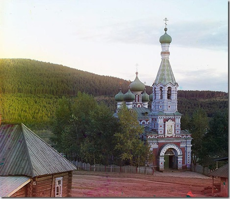 Church in Vetluga settlement; 1910 Sergei Mikhailovich Prokudin-Gorskii Collection (Library of Congress).