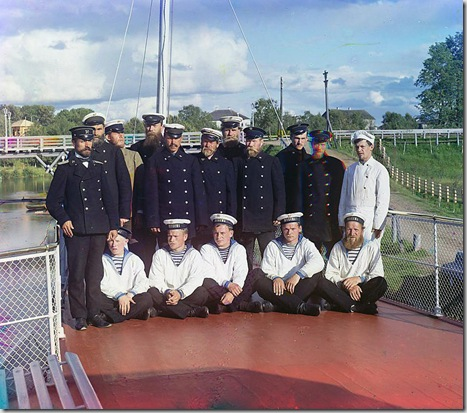 "Crew of the steamship ""Sheksna"" of the M.P.S. (Ministry of Communication and Transportation), Russian Empire; 1909 Sergei Mikhailovich Prokudin-Gorskii Collection (Library of Congress)."