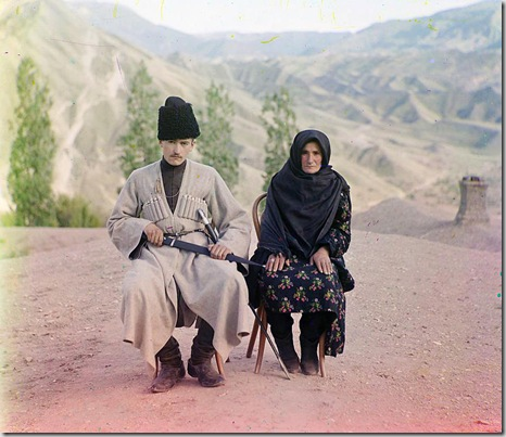 Dagestani types, Man and woman posed outdoors; between 1905 and 1915 Sergei Mikhailovich Prokudin-Gorskii Collection (Library of Congress).