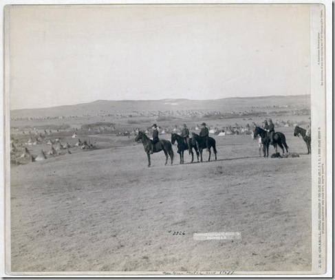 Title: General Miles and staff Six military men on horseback on a hill overlooking a large encampment of tipis. 1891. Repository: Library of Congress Prints and Photographs Division Washington, D.C. 20540