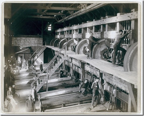 "Title: The Interior. ""Clean Up"" day at the Deadwood Terra Gold Stamp Mill, one of the Homestake Mills, Terraville, Dakota Interior of saw mill; men working on equipment. 1888. Repository: Library of Congress Prints and Photographs Division Washington, D.C. 20540"