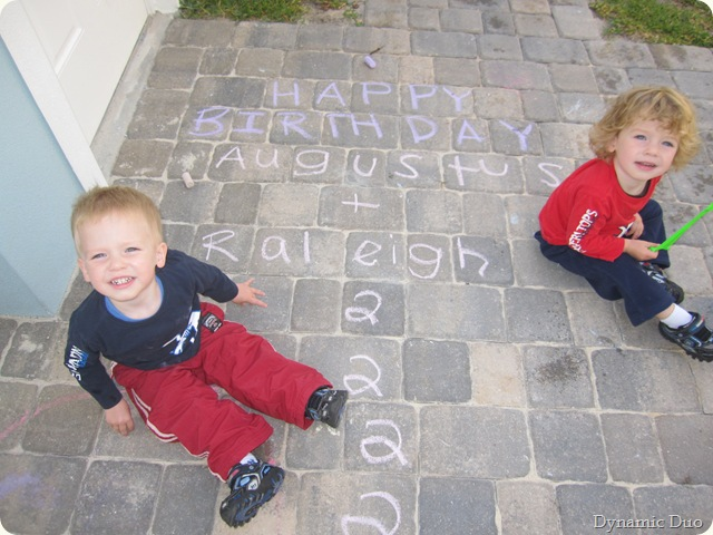 happy birthday sign with boys