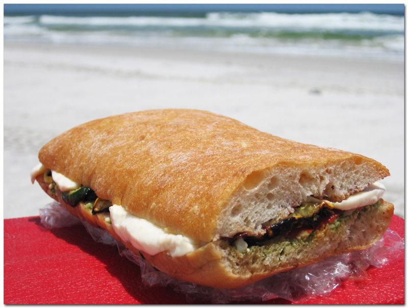 Pressed sandwiches at the beach