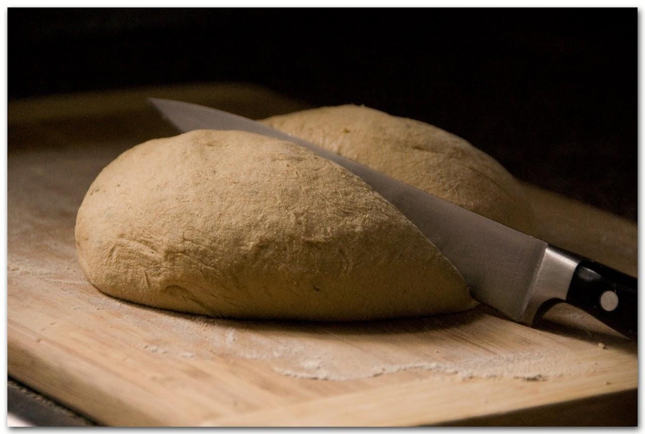 Cutting pizza dough