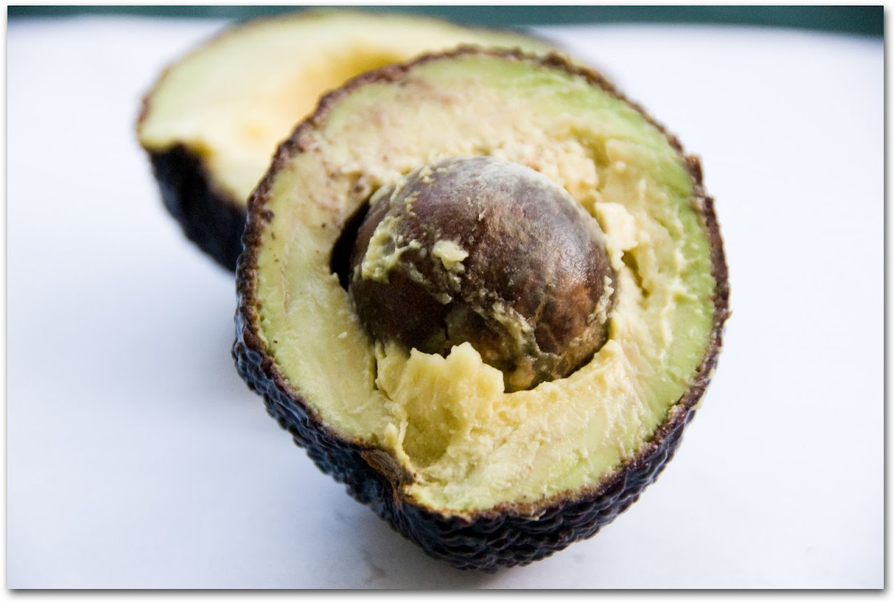 Avocado sliced in half