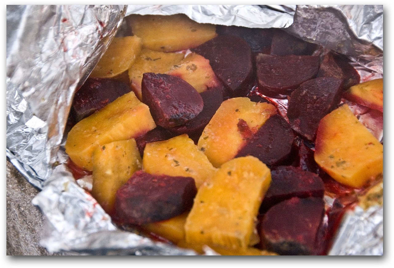 Hangi-cooked sweet potatoes