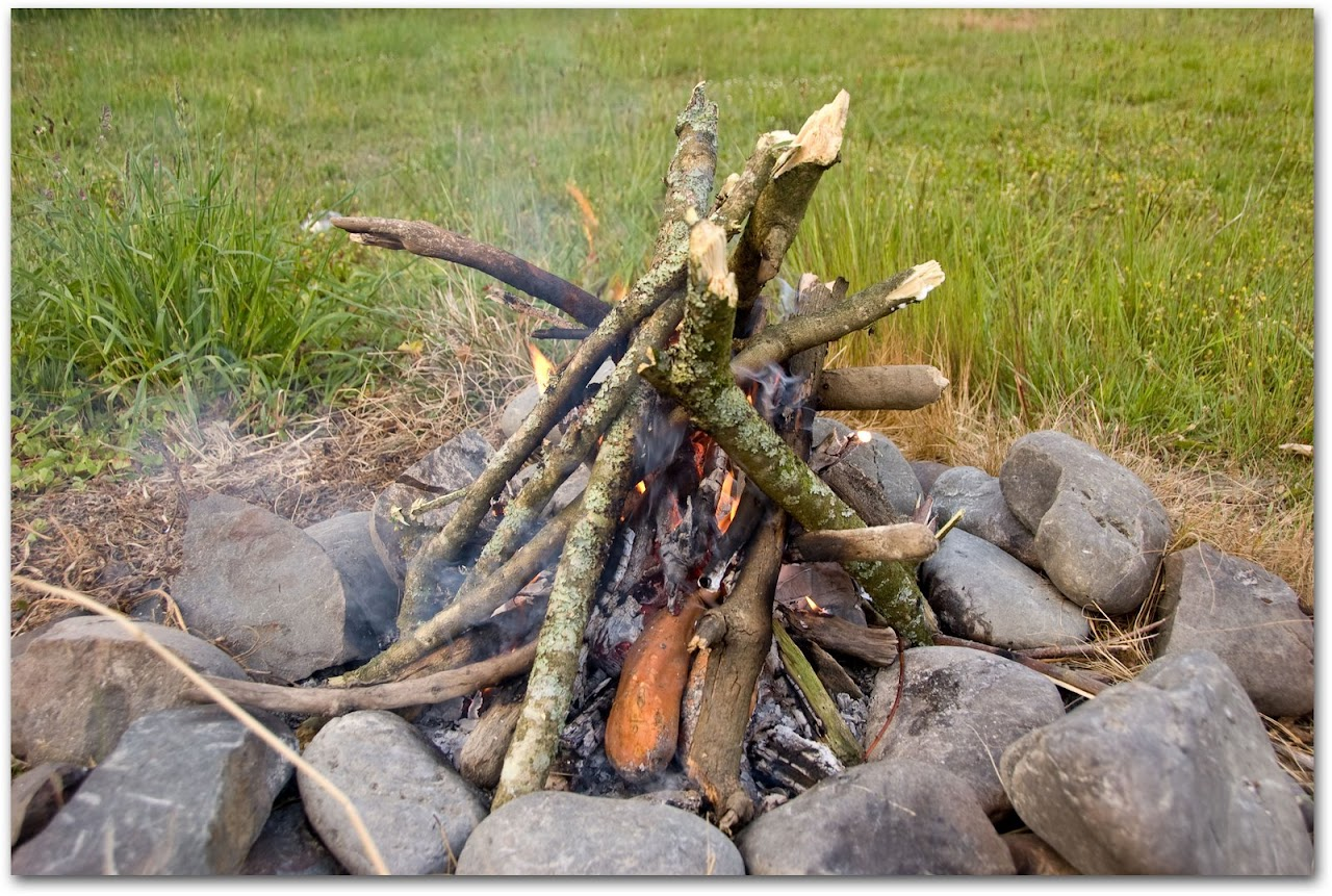 Fire with sweet potatoes roasting