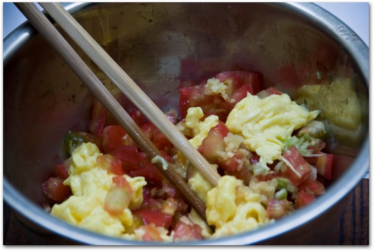 Eggs with tomato jiaozi