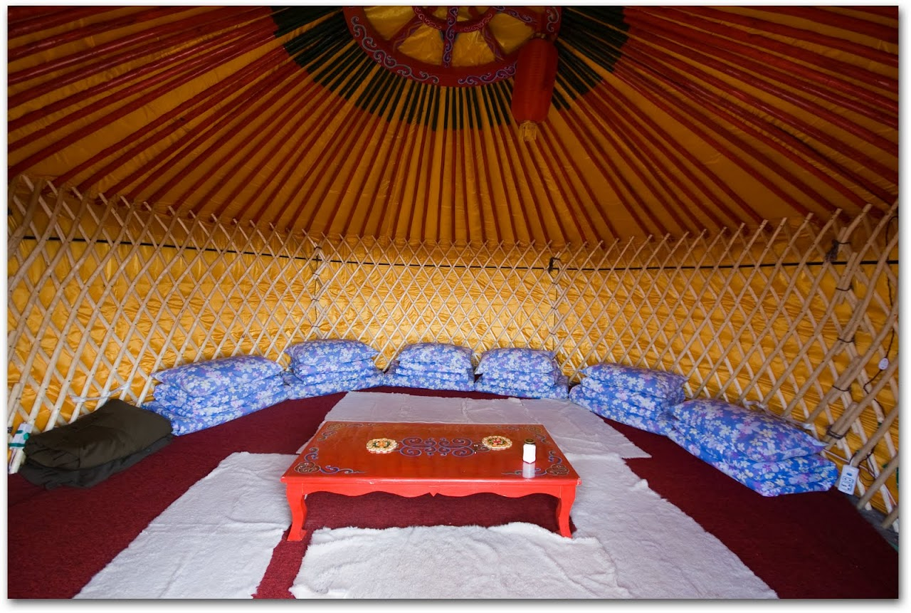 Interior of Mongolian yurt