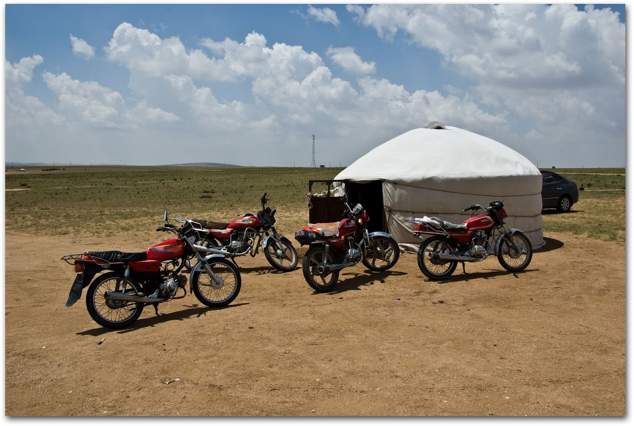 Motorcycles at Mongolian yurt