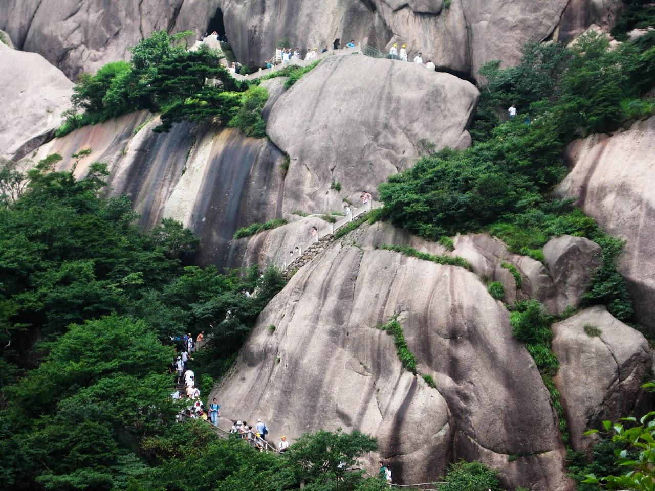 Tourists climbing Huang Shan